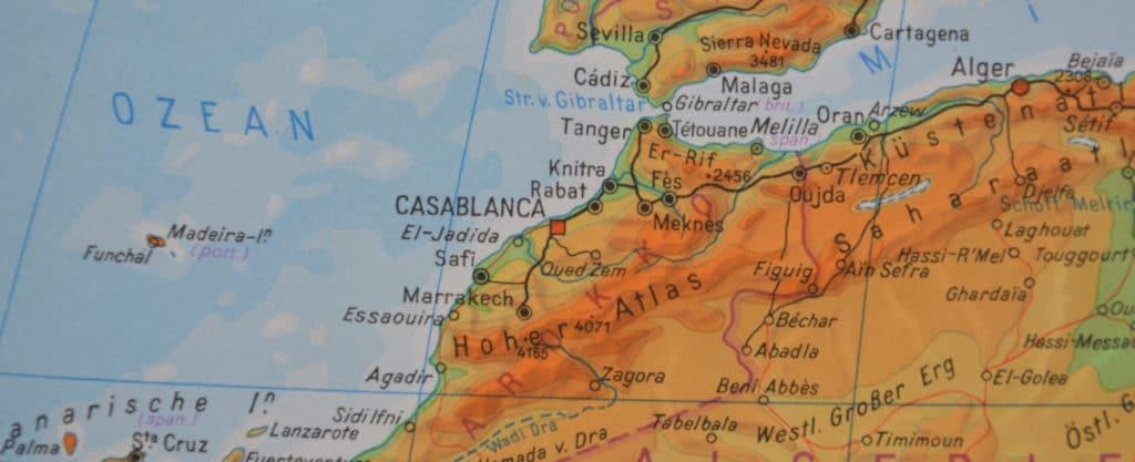 Marokko physische Landkarte
