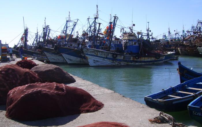 Fischerboote im Fischereihafen Essaouira an der marokkanischen Atlantik - Küste