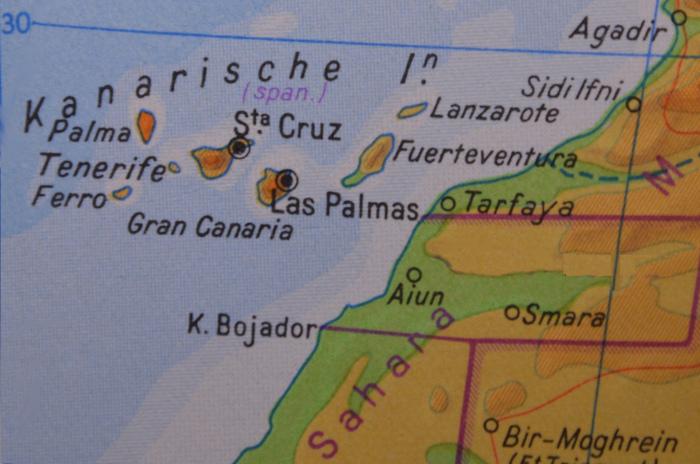 Kanarische Inseln - Karten überblick: Tenerife, Gran Canaria, Fuerteventura, Lanzarote, Palma, El Hierro