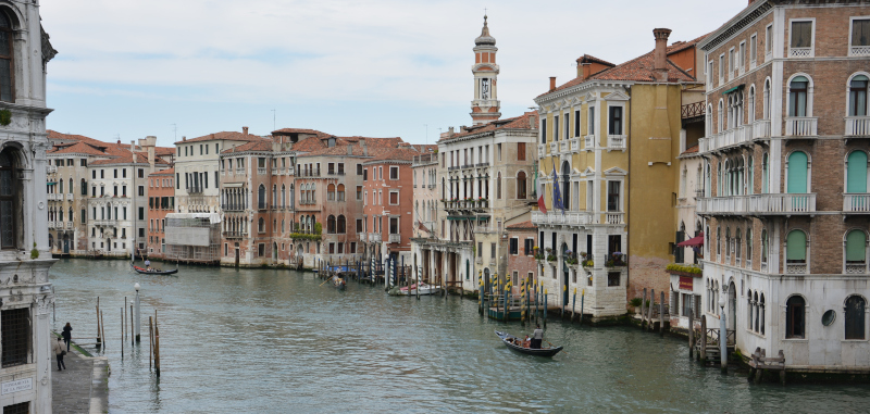 At Canal Grande in Venice lagoon city