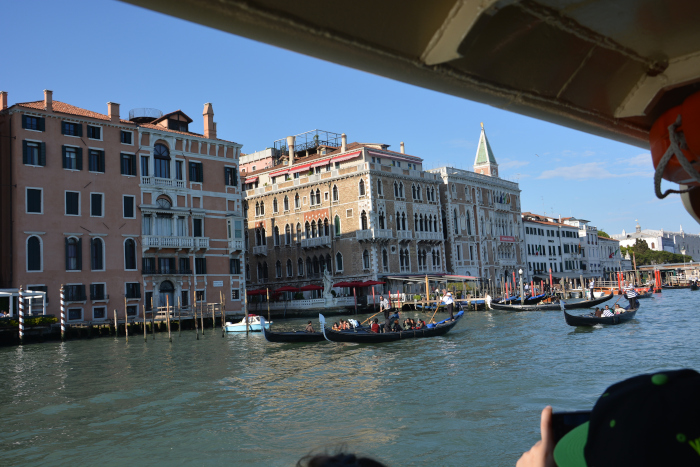 Sightseeing onboard a Vaporetto in the Venice  Grand Canal