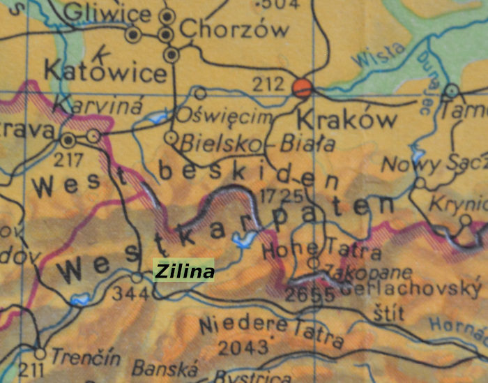 Map   Zilina and Mala Fatra Mountains