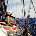 Atlantik-Segeln Blick vom Vorschiff nach achtern