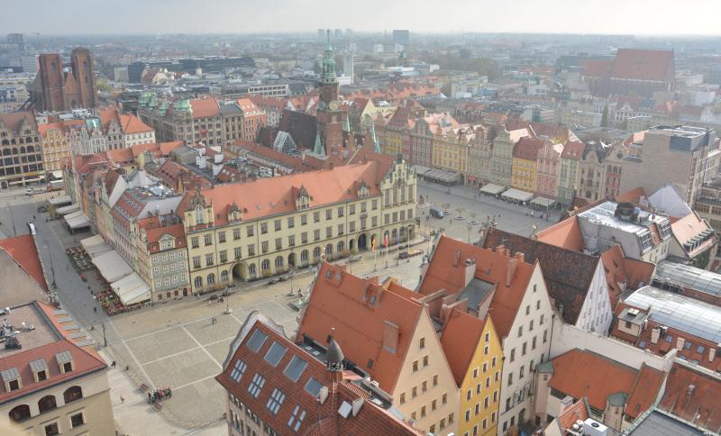 Wroclaw / Breslau - Blick über den Markt der Zwergenstadt