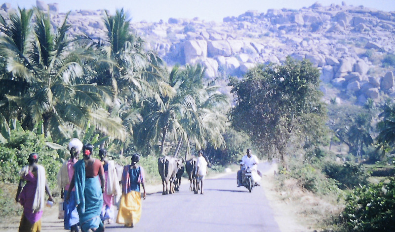 Hampi Damen im Sari auf dem Weg