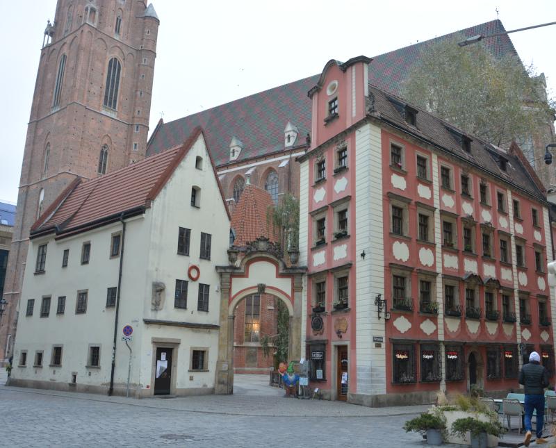 Wroclaw / Breslau - Odrzanska Straße und Garnisonkirche