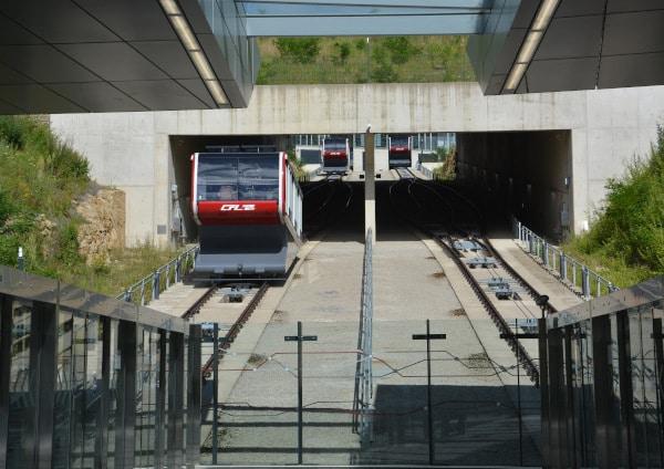 Luxemburg City Bergbahn Zum Stadtteil Kirchberg