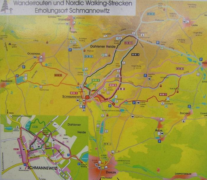 nordic walking routen Schmannewitz, Dahlener Heide - Übersichtsplan zum download