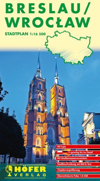 Stadtplan  Breslau/ Wroclaw -  deutsche und polnische Straßenbezeichnungen