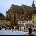 Südost - Europa-Tour Sommer 89: Markt in Brasov / Kronstadt mit Schwarzer Kirche - postpic