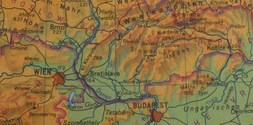 Südost - Europa-Tour Sommer 89: Kartenausschnitt Bratislava, Nove Zamky