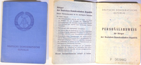 Southeast - Europe tour summer 89: GDR identity booklet