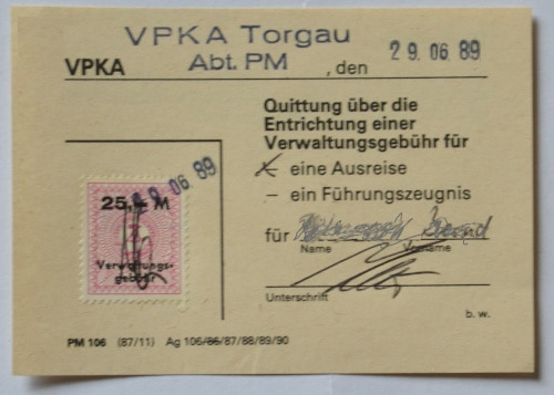 Southeast - Europe Tour Summer 89: East German Receipt Administrative Fee for Travel Request