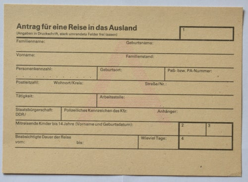 GDR- Police travel application for trips abroad