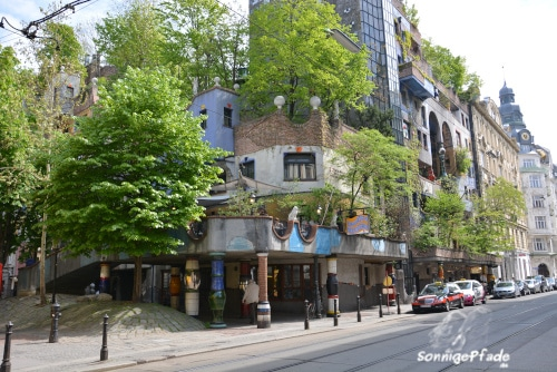 Hundertwasser house Vienna seen from the Löwengasse alley