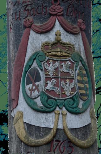 Kurfürstlich Sächsisches Wappen an der Jägereiche - Erinnerungssäule